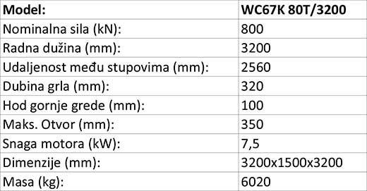 Apkant preša hidraulična WC67K 80tx3200 mm, E200