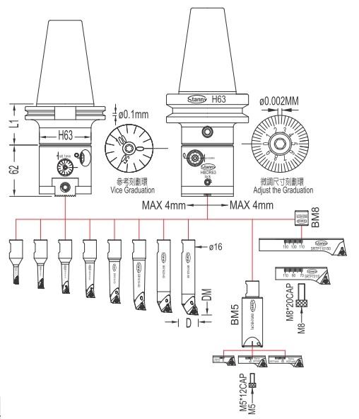Glava za istokarivanje, set BT40-HBOR63, 6-150 mm
