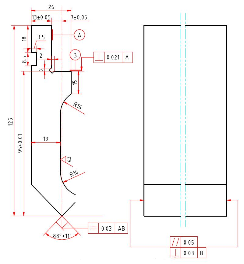 Gornji alat za savijanje 125x500 mm
