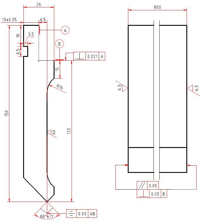 Gornji alat za savijanje 150x800 mm