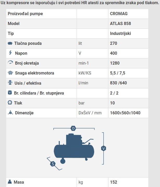 Kompresor Cromag ATLAS 858 (400V)