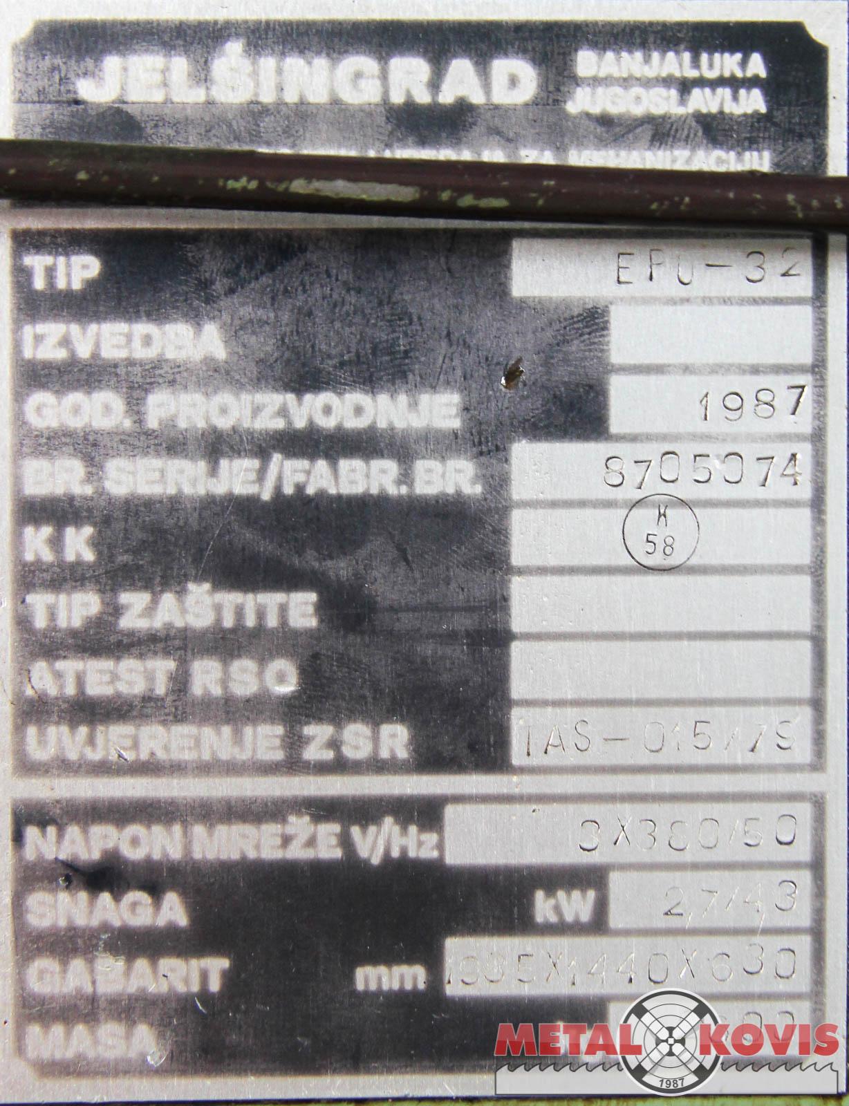 Ekscentar preša Jelšingrad EPU-32