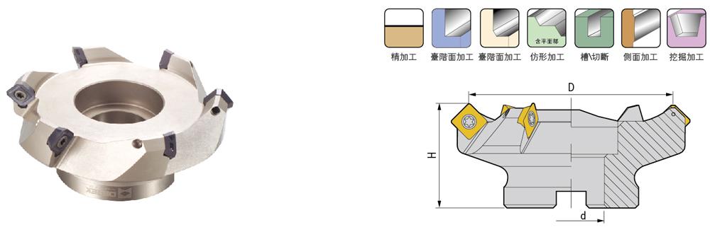 Glodaća glava 45° SE45-63-22-5T