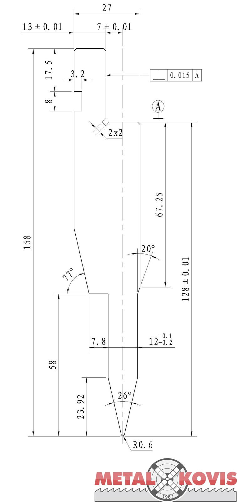 Gornji alat za pertlanje L=835 mm