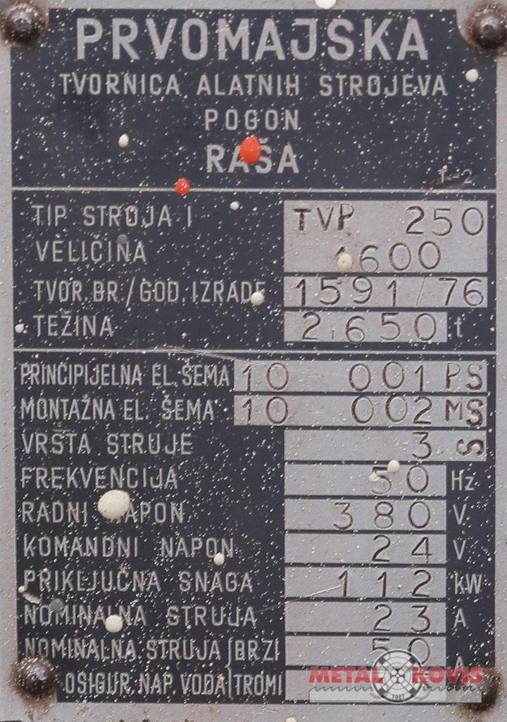 Tokarski stroj Prvomajska TVP-250x1600 mm