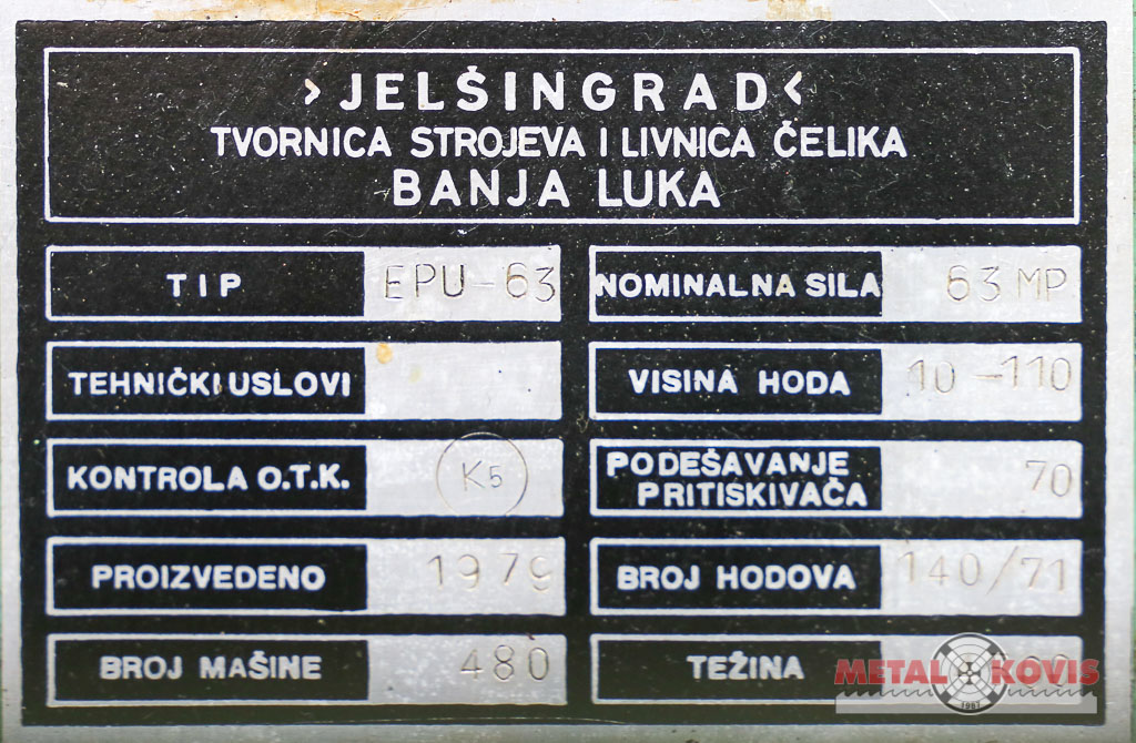 Ekscentar preša Jelšingrad 63 t