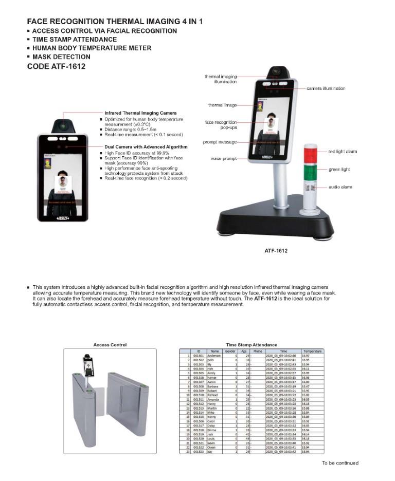Sustav za prepoznavanje lica i toplinsko snimanje ATF-1612, Insize
