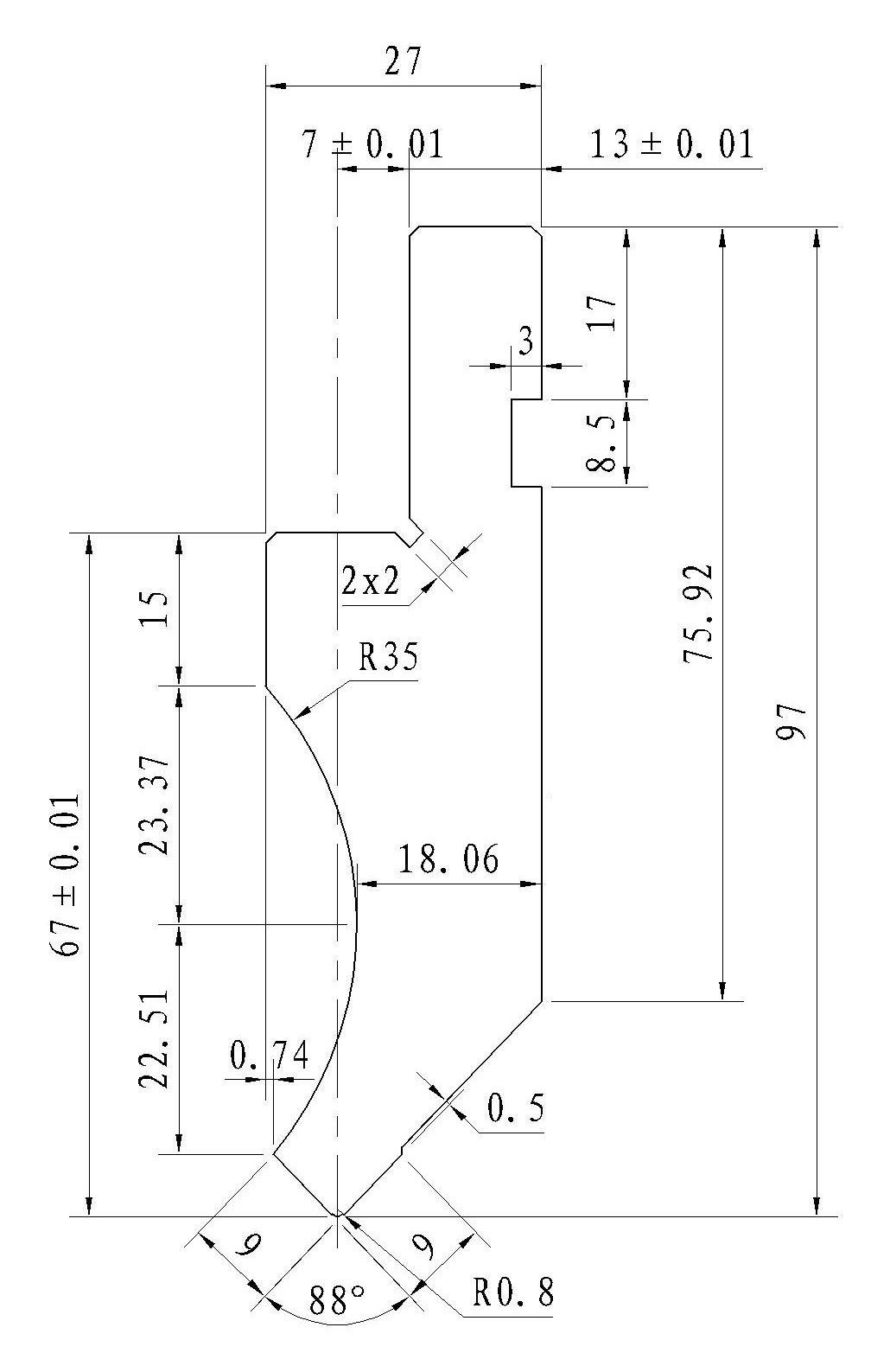 Gornji alat za apkant prešu L067.88.08 L=500mm