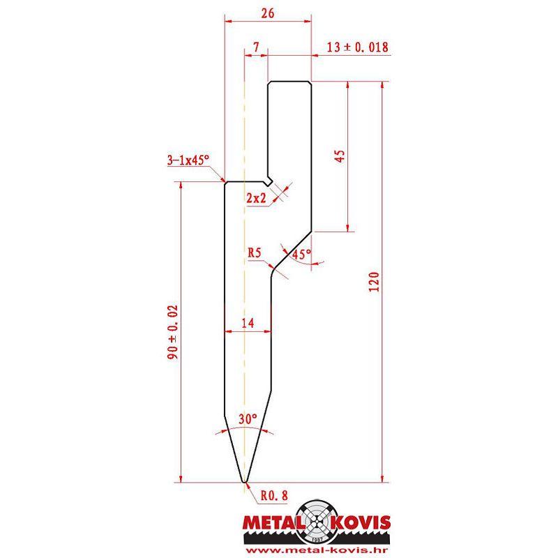 Gornji alat za apkant prešu L090.30.08 L=417mm