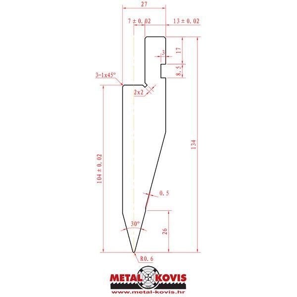 Gornji alat za apkant prešu L1041.30.06 L=500 mm