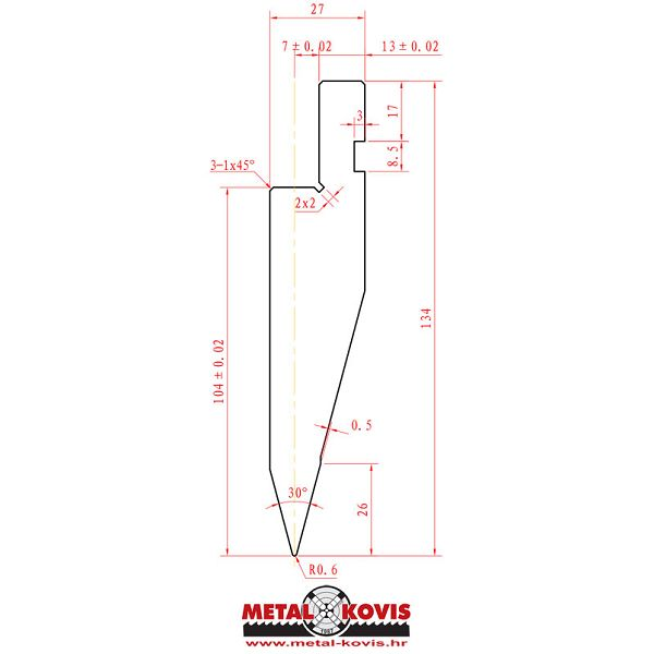 Gornji alat za apkant prešu L1041.30.06 L=1000 mm