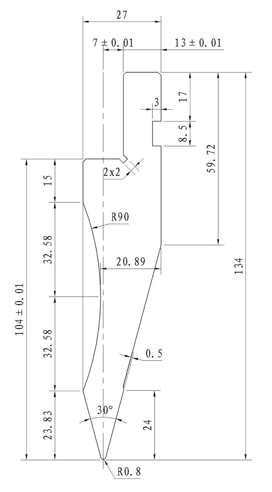 Gornji alat za apkant prešu L1042.30.08 L=500mm
