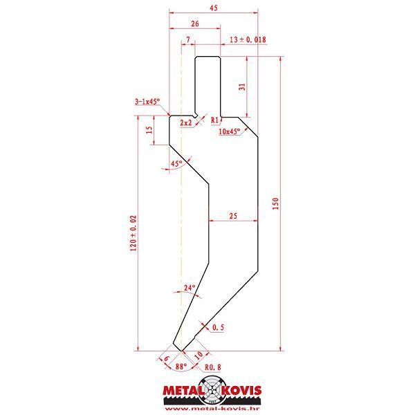 Gornji alat za apkant prešu L1204.88.08 L=417 mm