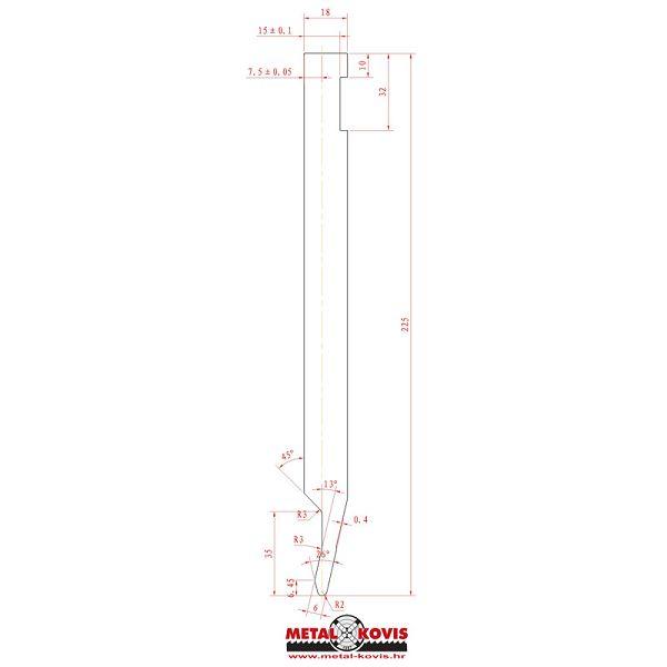 Gornji alat za apkant prešu L225.26.20 L=500 mm
