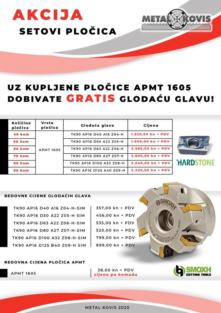 Set od 80 pločica APMT 1605 + gratis glodaća glava TK90 AP16