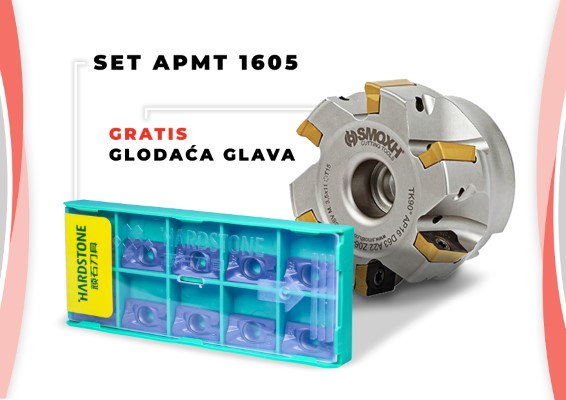 Set od 90 pločica APMT 1605 + gratis glodaća glava TK90 AP16